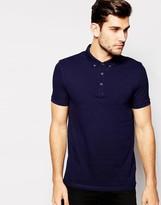Asos Pique Polo Shirt With Button Down Collar In Navy
