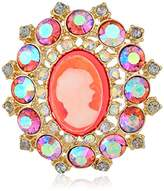Betsey Johnson Womens Granny Chic Bright Cameo Brooches And Pin