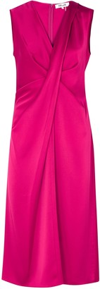 Diane von Furstenberg Katrita hot pink satin midi dress