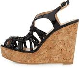 Valentino Strappy Patent Cork Wedge Sandal, Black