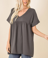 Ash Lydiane Women's Tunics  Gray V-Neck Short-Sleeve Babydoll Tunic - Women & Plus