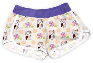 Urban Smalls Girls' Casual Shorts Multi - Beige & Purple Flower Crown Owls Shorts - Toddler & Girls
