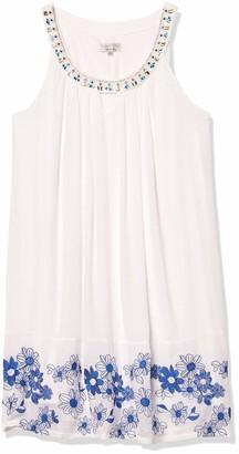 Robbie Bee Women's Plus Size Embriodered Gauze Shift Dress