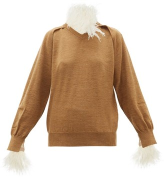 Toga Feather-trimmed Wool-blend Sweater - Womens - Beige