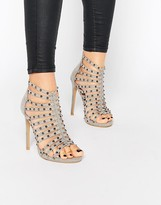 Glamorous Gray Studded Caged Heeled Sandals