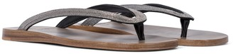 Brunello Cucinelli Embellished leather thong sandals