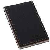 YDC0624 Black Beige Artificial Leather Best Name ID Credit Card Case Luxury For Business Card Holder By Y&G