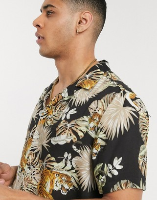 Topman short sleeve revere shirt with tiger print in black