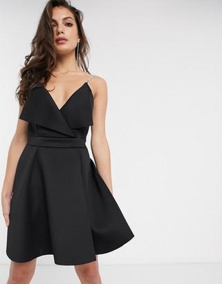 ASOS DESIGN fold front mini skater dress with embellished straps