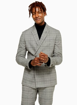 Topman Grey Check Skinny Fit Double Breasted Suit Blazer With Peak Lapels
