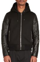 Givenchy Neoprene Leather Hooded Bomber Jacket