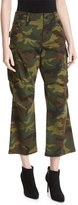 Alice + Olivia Johnsie High-Rise Camo Cropped Cargo Pants