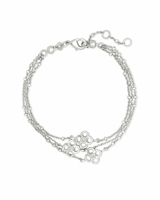 Kendra Scott Rue Multi Strand Link Chain Bracelet for Women Fashion Jewelry Rhodium-Plated
