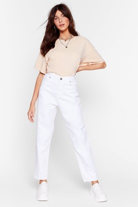 Nasty Gal Womens Debbie High-Waisted Mom Jeans - White - 12