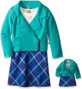 Dollie & Me Big Girls' Texture Moto Jacket with Knit to Plaid Dress