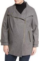 MICHAEL Michael Kors Wool-Blend Asymmetric-Zip Coat, Gray, Plus Size