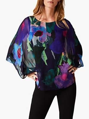 Phase Eight Azana Floral Silk Blouse, Navy