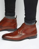 Asos Brogue Chukka Boots In Brown Leather