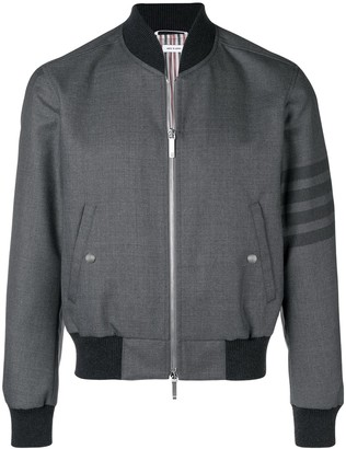 Thom Browne 4-Bar Ribbed Knit Blouson Jacket