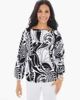 Chico's Black-and-White Printed Drama Sweater