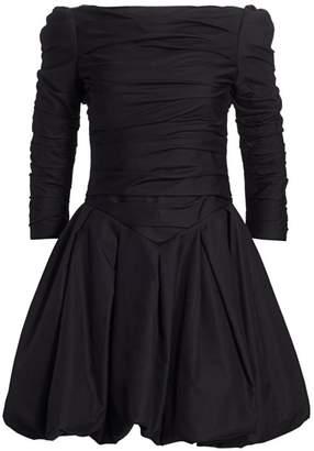 KHAITE Minnie Puff Sleeve Fit-&-Flare Dress