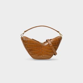 S.JOON Mini Tulip Bag In Brown Croc-Embossed Leather