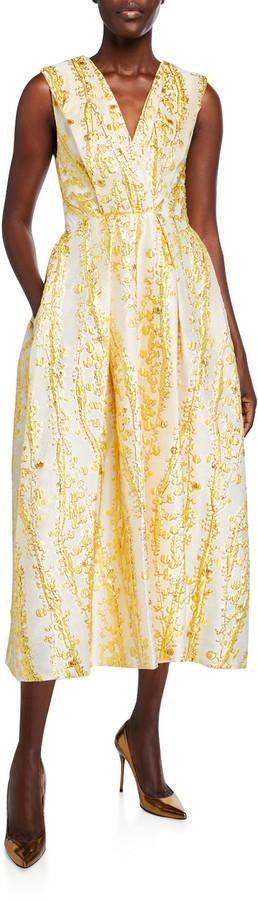 Monique Lhuillier V-Neck Sleeveless Brocade Midi Dress