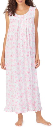 Eileen West Floral Print Jersey Long Nightgown