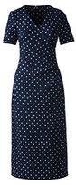 Lands' End Women's Petite Short Sleeve Pont&eacute Surplice Dress-Frost Blue