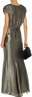Max Mara Bacio Belted Paneled Plisse-lame Gown