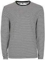 Topman Black and White Stripe Long Sleeve T-Shirt