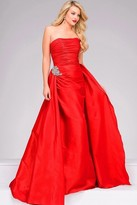 Jovani Royal Ruched Long Dress with A Line Overskirt in Royal 45079