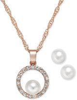 Charter Club Rose Gold-Tone Imitation Pearl and Pavé Pendant Necklace and Earrings Set, Only at Macy's