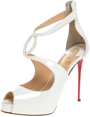 Christian Louboutin White Patent Leather Strappy Platform Sandals Size 37.5