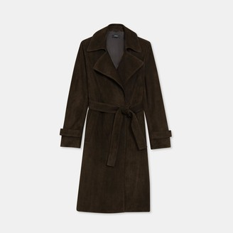 Theory Oaklane Trench Coat in Suede