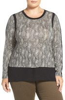 MICHAEL Michael Kors Woven Hem Textured Scale Print Top (Plus Size)