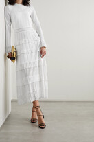 Thumbnail for your product : Lela Rose Ruffled Pointelle-trimmed Knitted Midi Dress - Ivory