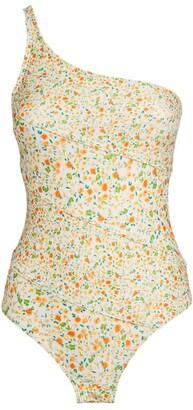 Peony Swimwear Floral One-Shoulder Swimsuit