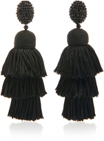 Oscar de la Renta Long Silk Tiered Tassel C Earring