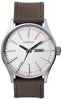 Nixon The Sentry Leather Strap Stainless Steel Luminous 3 Hand Watch