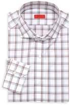 Isaia Slim Fit Tattersol Plaid Dress Shirt