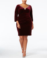 Alex Evenings Plus Size Embellished Velvet Shift Dress