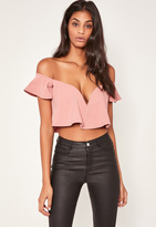 Pink Sweetheart Frill Bardot Crop Top, Red