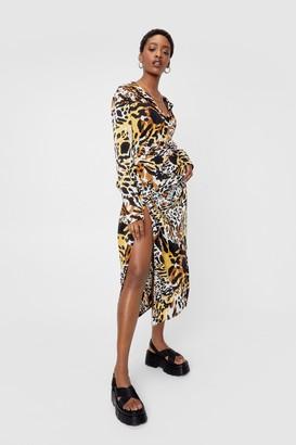 Nasty Gal Womens Animal Print V Neck Split Midi Dress - Brown