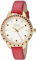 Burgi Women's Genuine Swarovski Crystal Accented White Dial and Gold-Tone Bezel with Red Genuine Leather Strap Watch BUR161RD