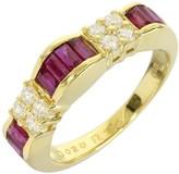 Mikimoto 18K Yellow Gold 0.20 Ct Diamond and 1.14 Ct Ruby Ring Size 4