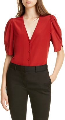 Frame Olivia Button Front Silk Blouse