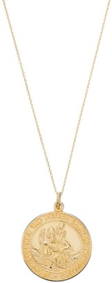 Lily & Roo Solid Gold Large Round St Christopher Medallion Necklace