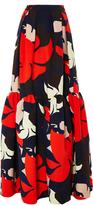 DELPOZO Floral Ruffled Hem Maxi Skirt