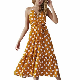 Luckme Women Halter Neck Dresses Maxi Polka Dot Dresses Sleeveless V-Neck Sexy Strap Dress Retro A-Line Dress Ladies Long Ruffle Dress Sundress Sewing Pattern Yellow